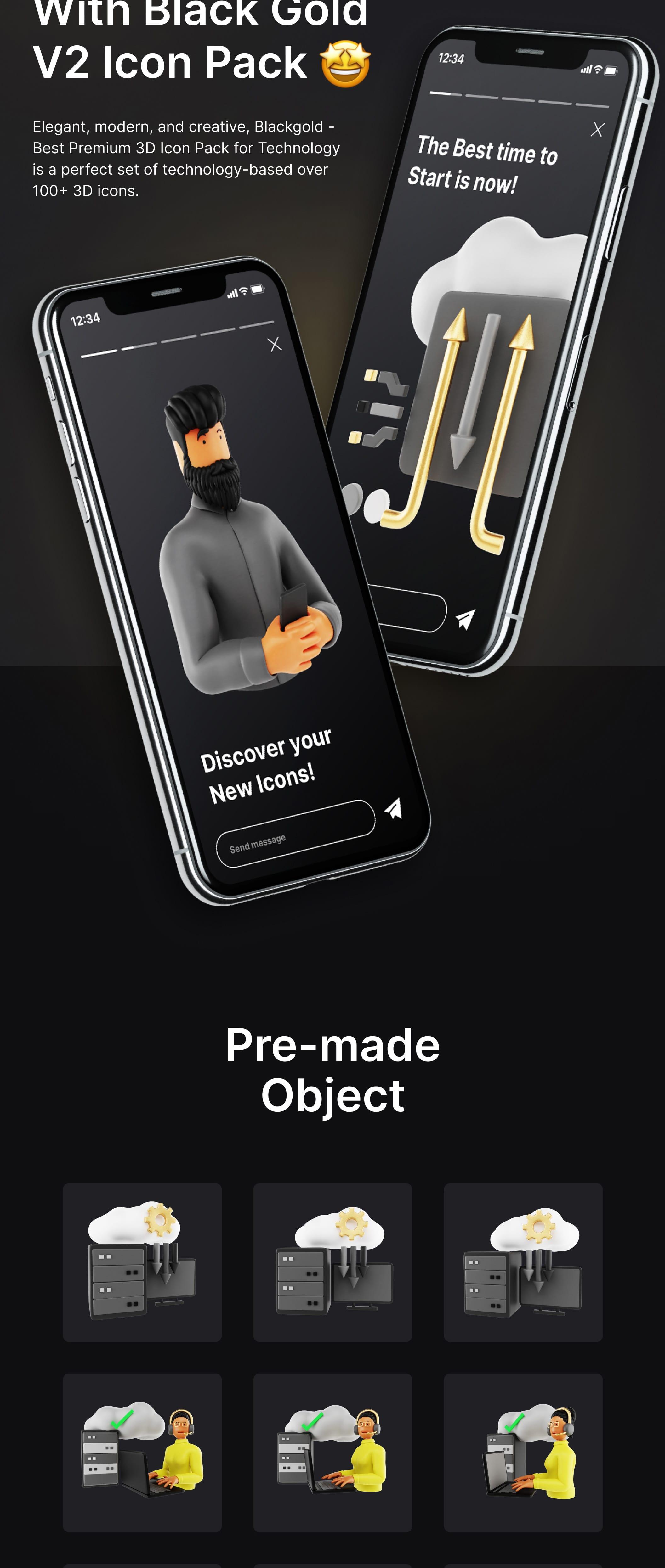 Premium 3D UI Elements fpr Technology | BlackGold Vol2 Pro | Iqonic Design premium 3d icon pack for technology BlackGold Vol2 Pro black 20g02 min