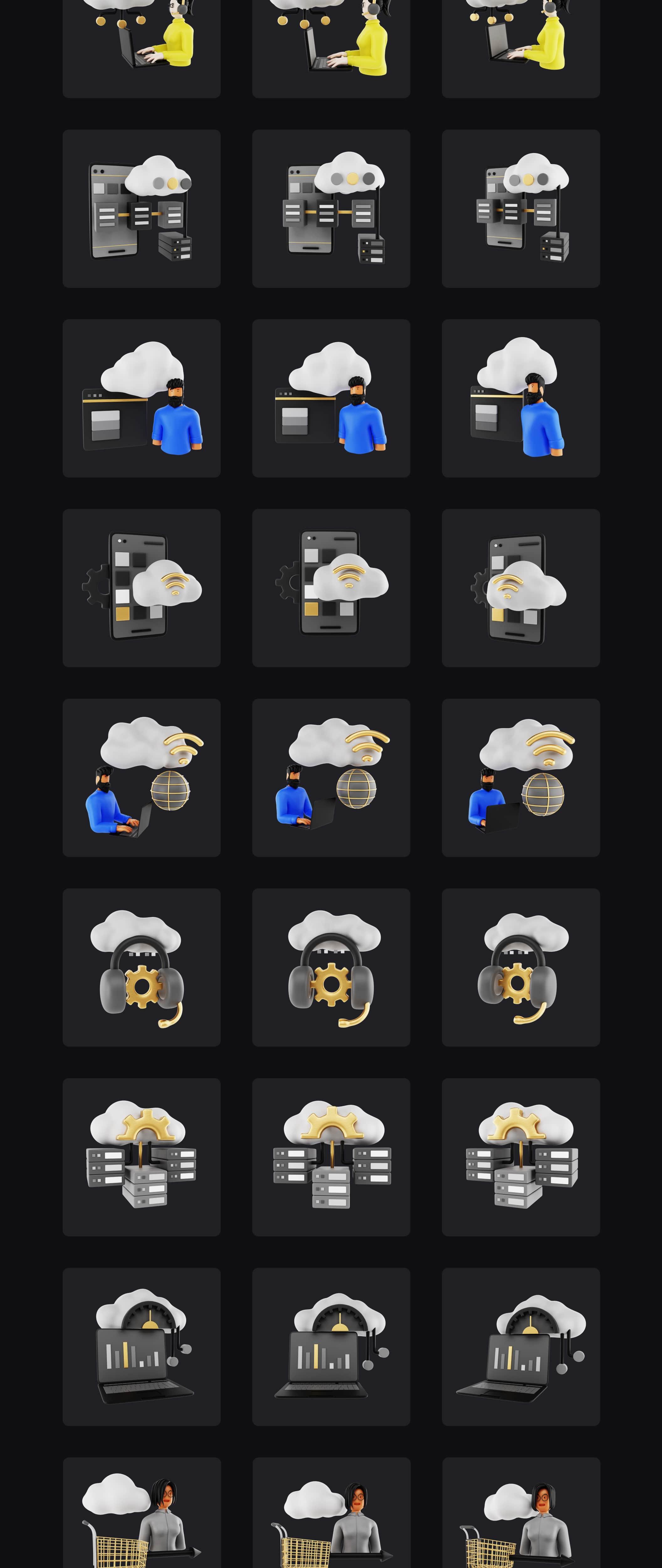 Premium 3D Assets for Technology | BlackGold Vol2 | Iqonic Design premium 3d icon pack for technology BlackGold Vol2 Pro black 20g04 min