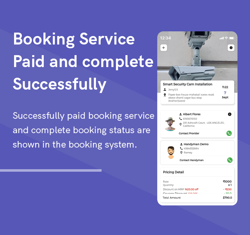 1  Handyman Service 14 Booking service Paid and complete Successfully