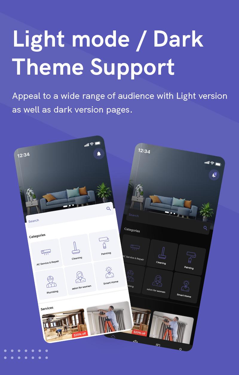 1  Handyman Service 3 Light mode Dark Theme Support