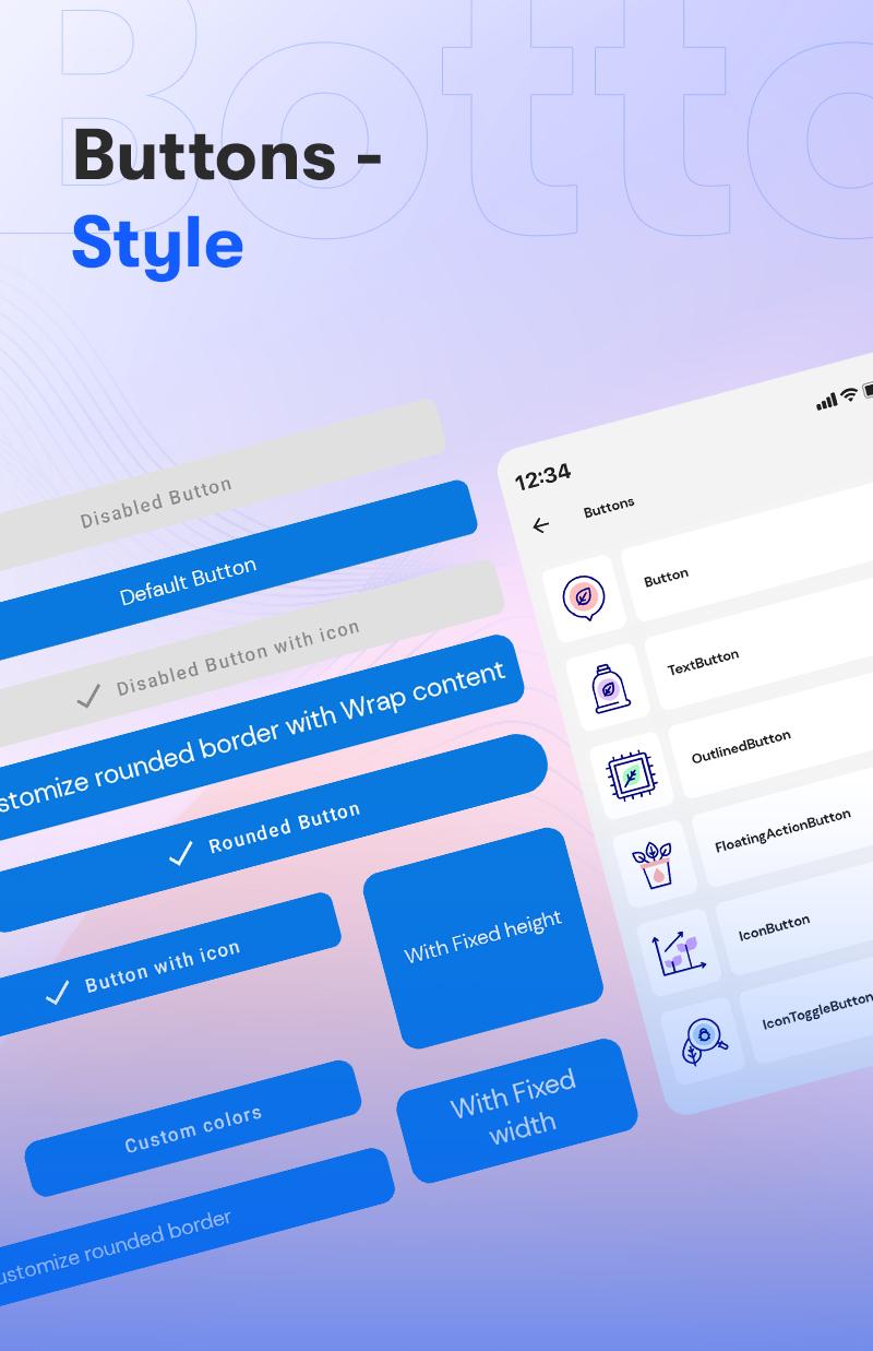 Android Jetpack Compose UI Kit | Prokit | Iqonic Design android jetpack compose ui kit Prokit 2 Button Styles