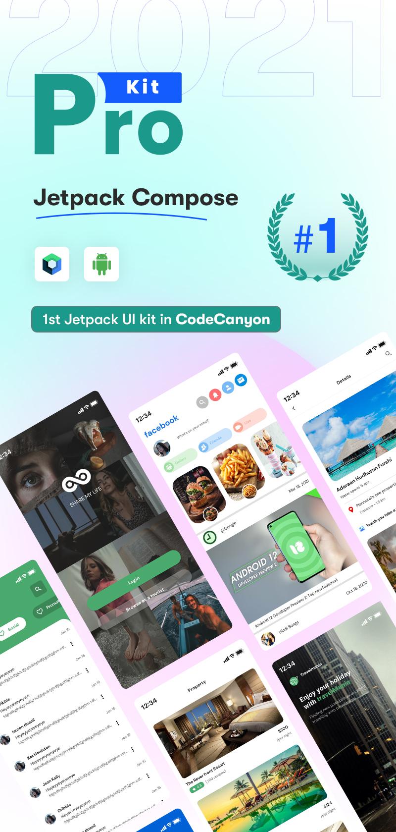 Android Jetpack Compose UI Kit | Prokit | Iqonic Design android jetpack compose ui kit Prokit Banner