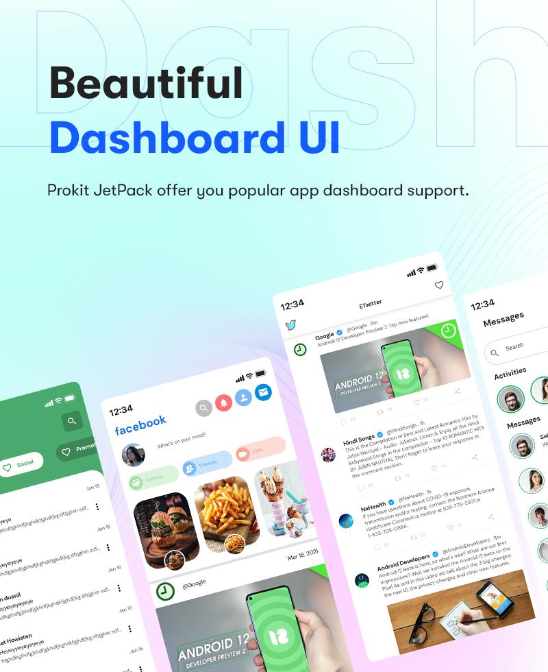Android Jetpack Compose UI Kit | Prokit | Iqonic Design android jetpack compose ui kit Prokit Dashboard