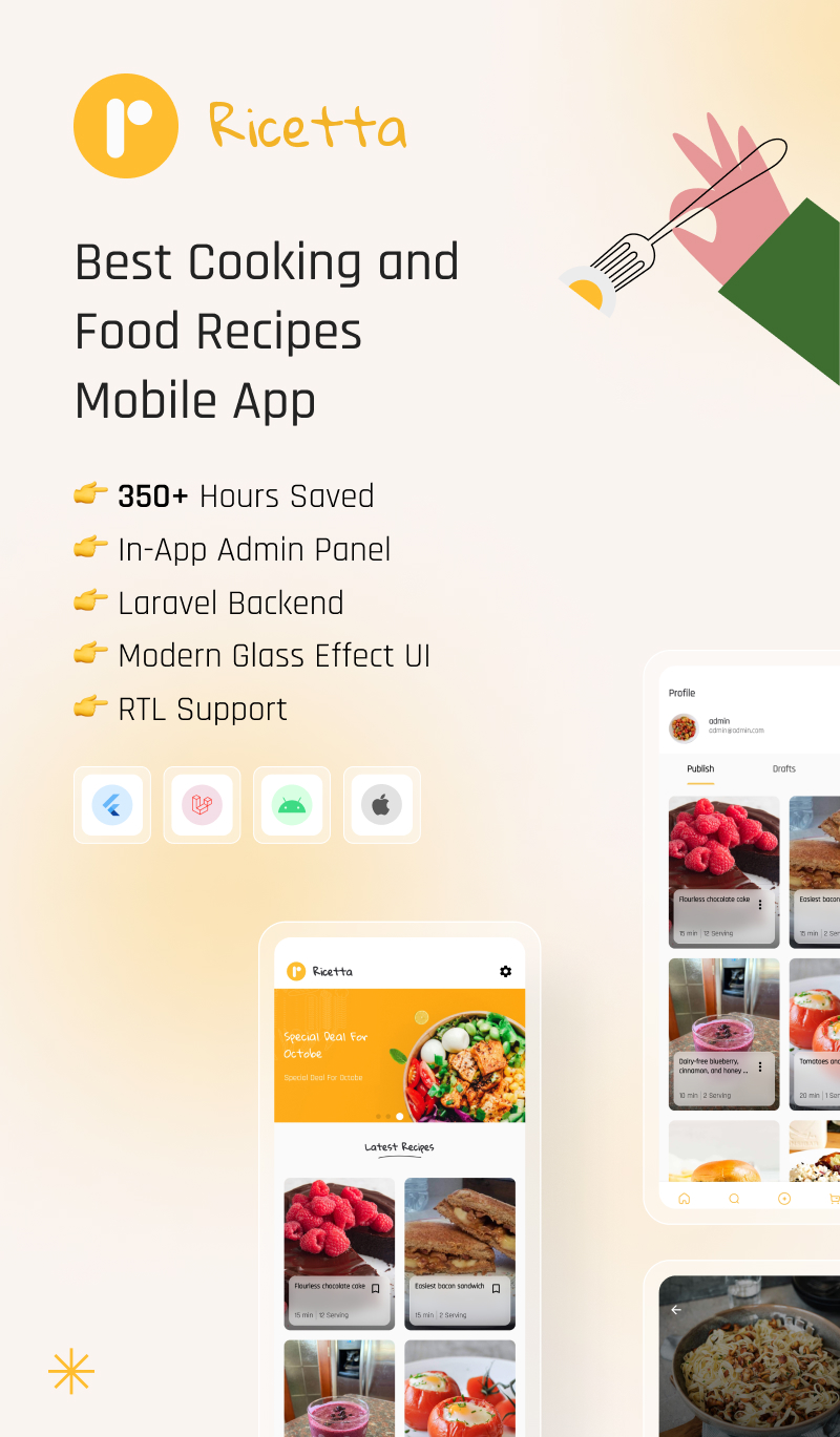 Flutter Recipe App with Laravel Backend | Ricetta | Iqonic Design flutter recipe app with laravel backend Ricetta 0