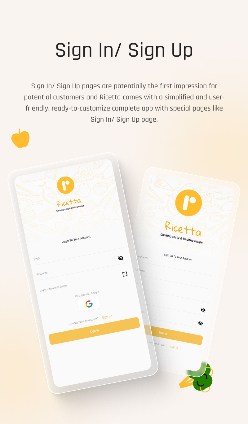 Food Recipes Flutter App | Ricetta | Iqonic Design flutter recipe app with laravel backend Ricetta 1