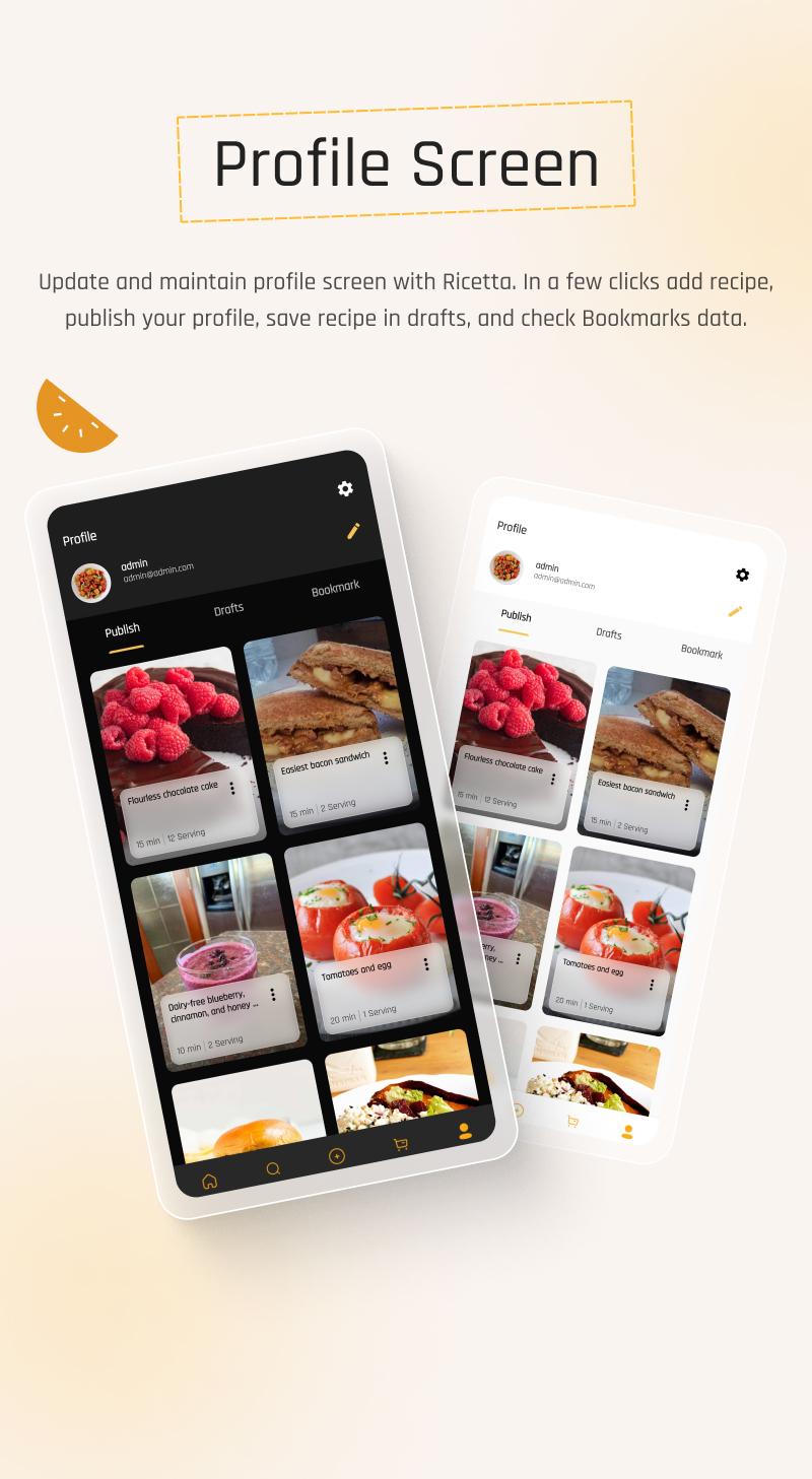 Food Recipes Flutter App | Ricetta | Iqonic Design flutter recipe app with laravel backend Ricetta 11
