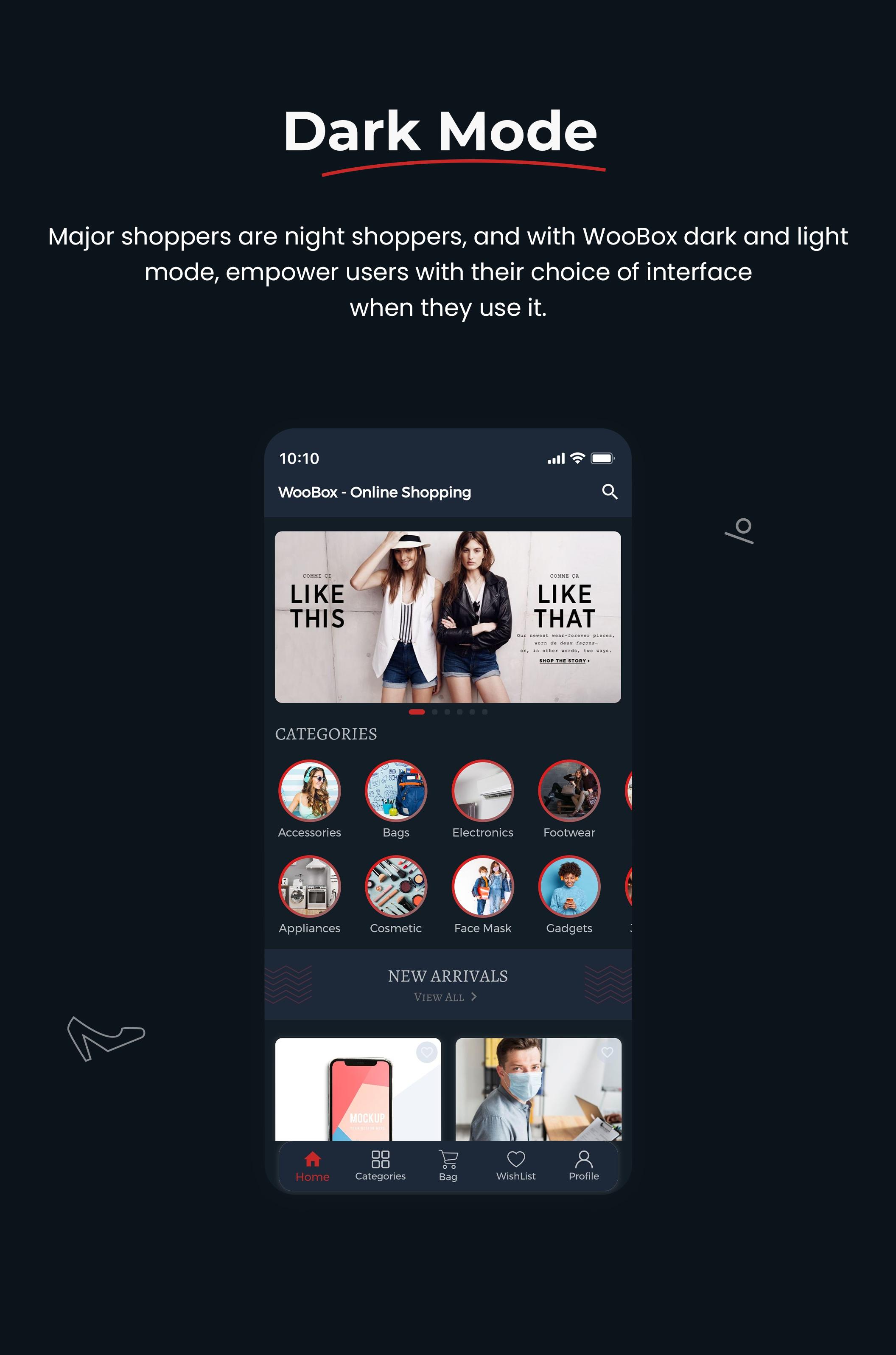 1 woocommerce flutter 2.0 e-commerce full mobile app All New WooBox 2.0 11 Dark mode support