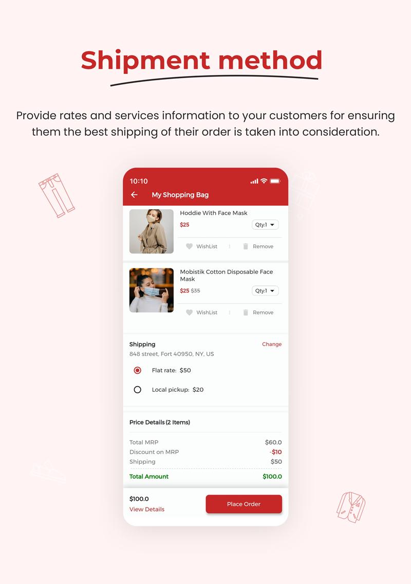 1 woocommerce flutter 2.0 e-commerce full mobile app All New WooBox 2.0 5 Shipment method