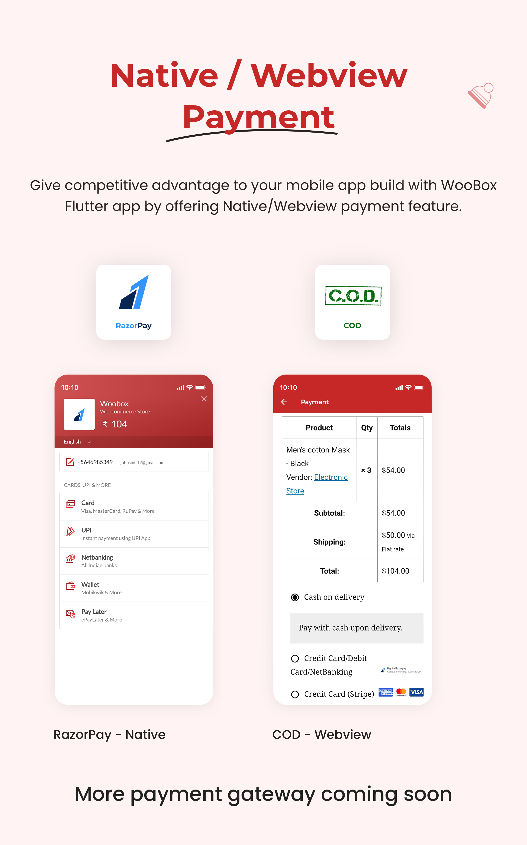 1 woocommerce flutter 2.0 e-commerce full mobile app All New WooBox 2.0 6 Native   Webview payment