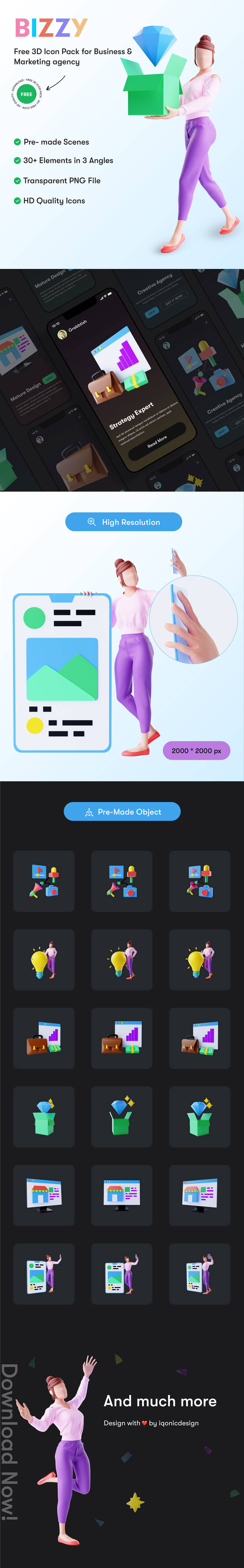 Free 3D Icon Pack for Business and Marketing agency   Bizzy   Iqonic Design free 3d icon pack for business and marketing agency Bizzy 3D bixxy2