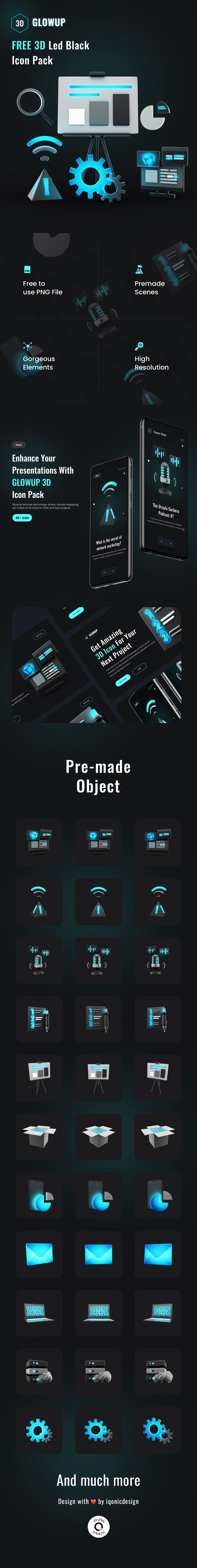 Best Free 3D Icon LED-Dark Technology Pack   GlowUp   Iqonic Design best free 3d icon led-dark technology pack GlowUp 3D long preview Recovered min