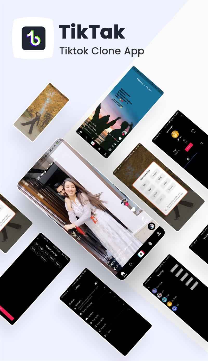 Free TikTok Clone Fullter UI Kit | TikTak | Iqonic Design free tiktok clone flutter ui kit TikTak Flutter 02 Tiktak banner min