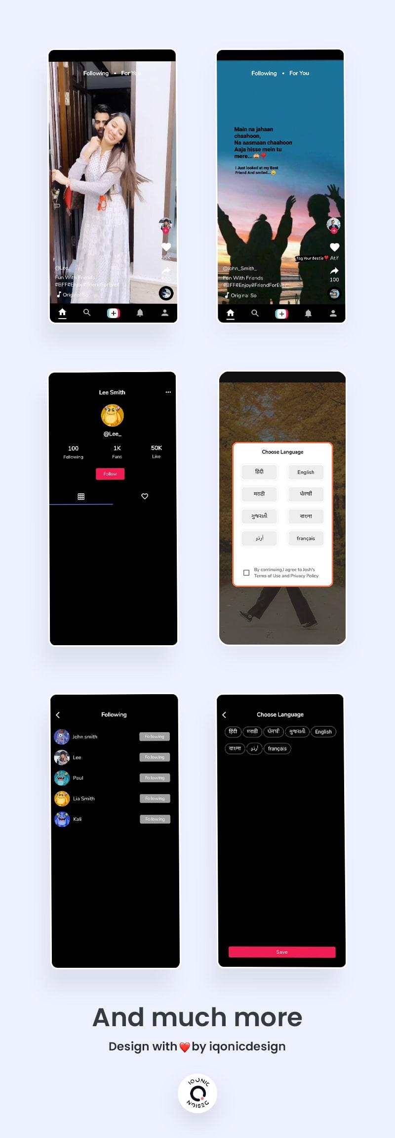 Free TikTok Clone Fullter UI Kit | TikTak | Iqonic Design free tiktok clone flutter ui kit TikTak Flutter 05 list tiktak min