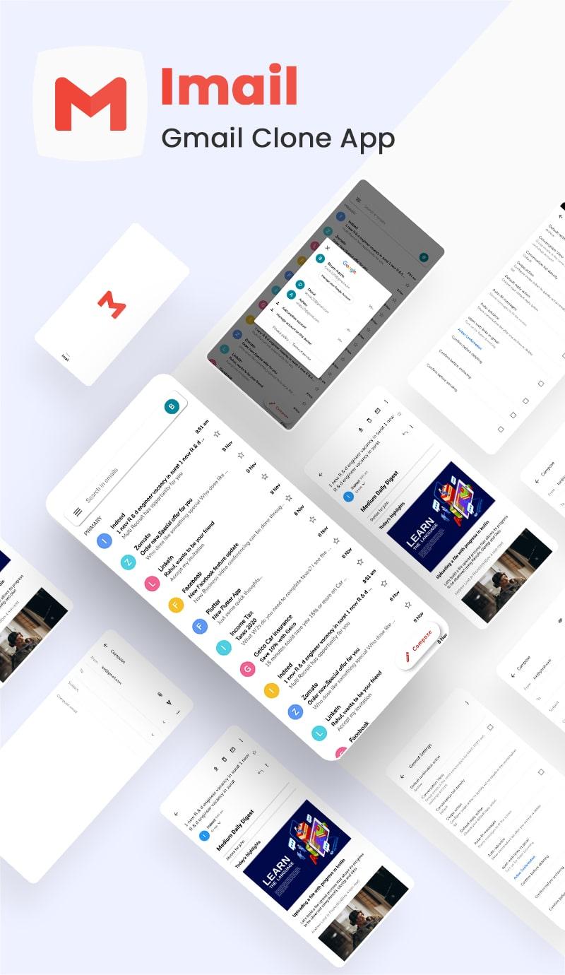 Free Gmail Clone Flutter UI Kit   iMail   Iqonic Design free gmail clone flutter ui kit iMail Flutter 02 imail banner min