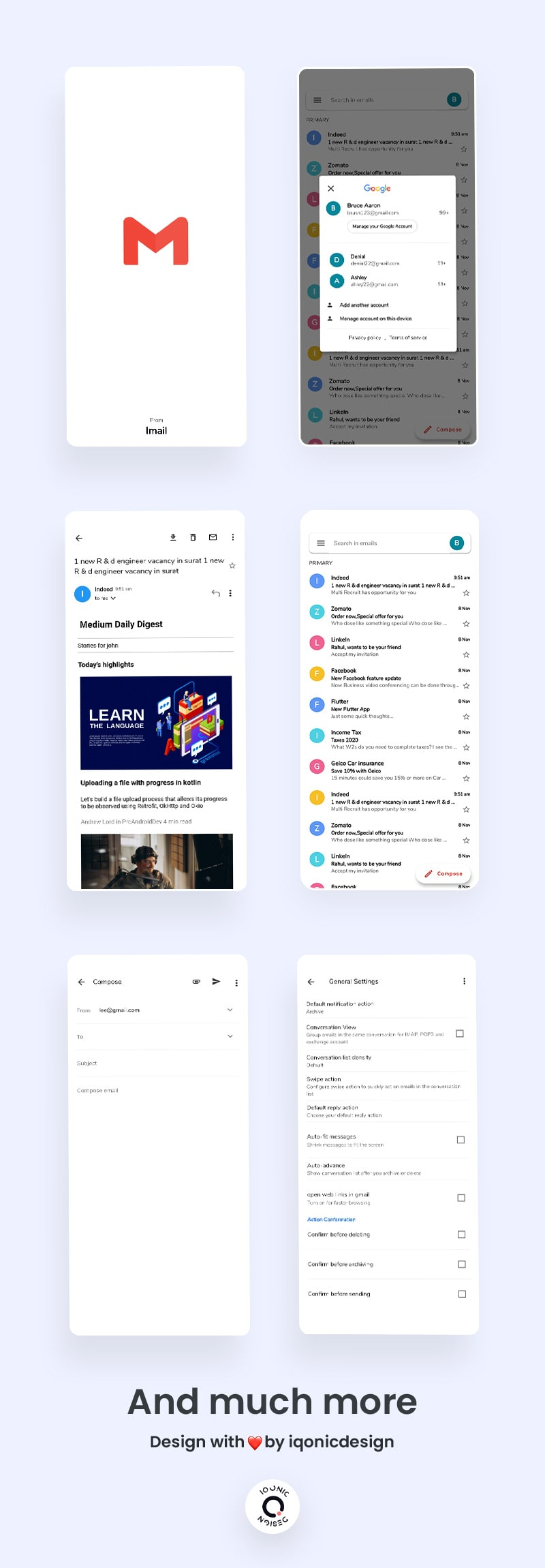 Flutter Gmail Clone UI   iMail   Iqonic Design free gmail clone flutter ui kit iMail Flutter 05 list imail min