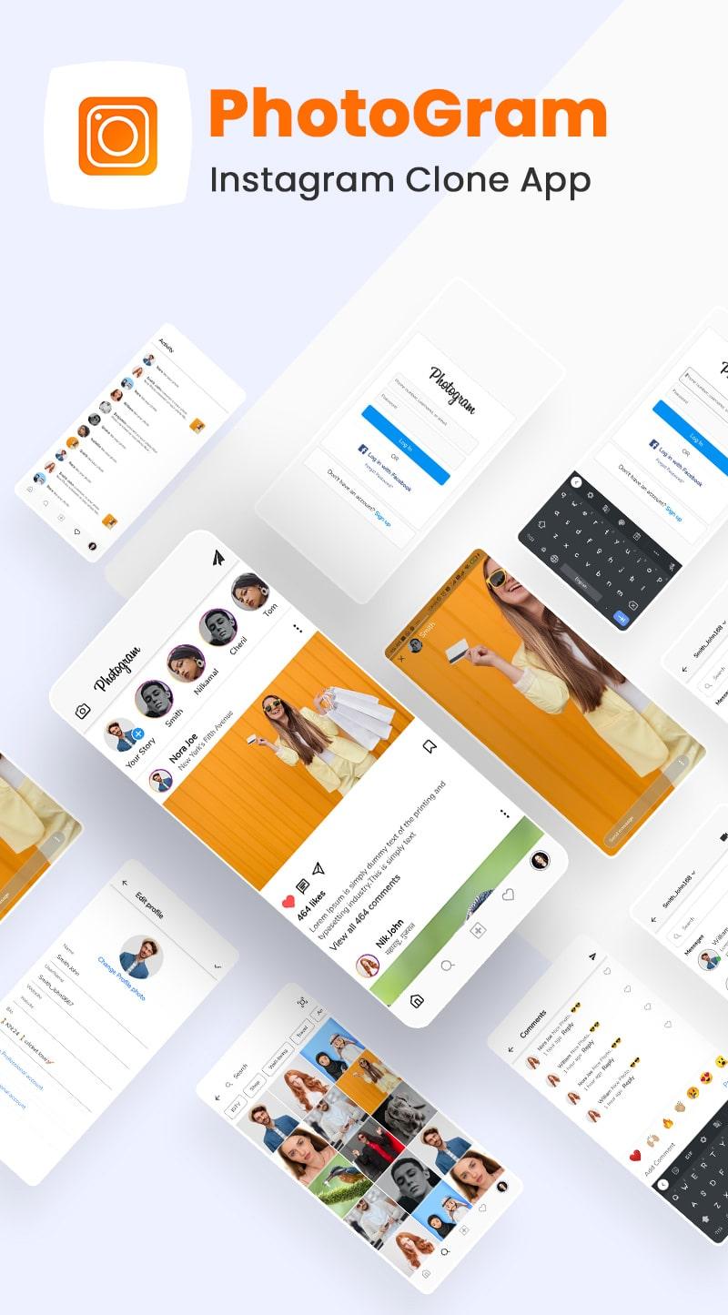 free Instagram Clone Flutter UI kit | PhotoGram | Iqonic Design free instagram clone flutter ui kit Photogram Flutter 02 banner min