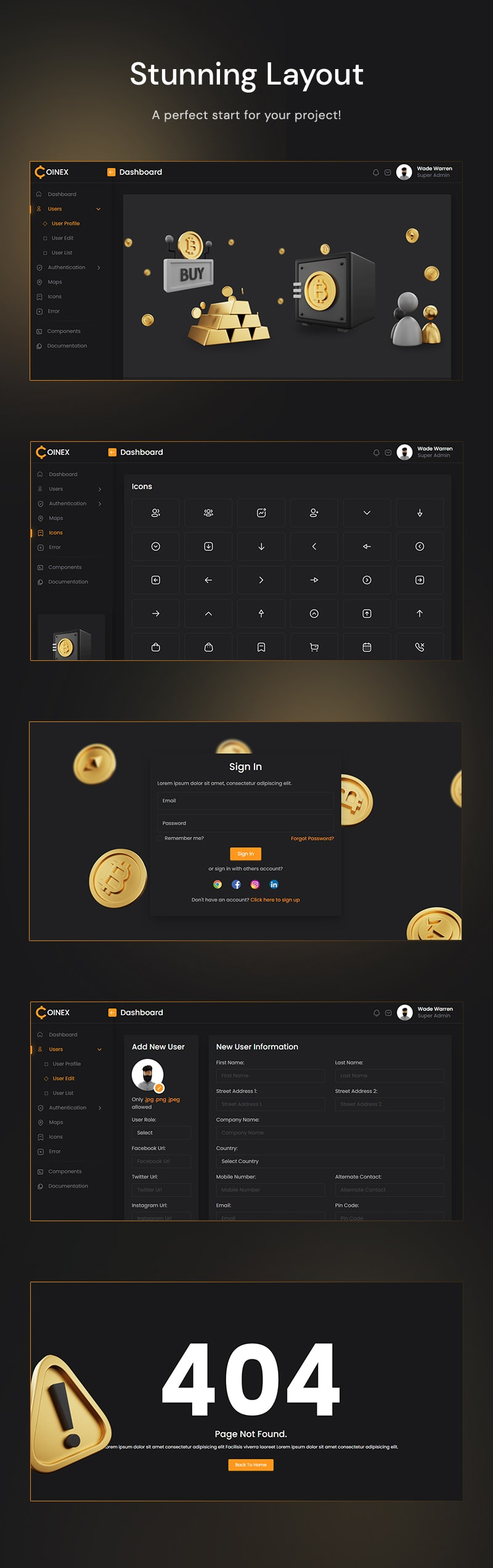 free crypto admin dashboard Coinex Lite Admin 03 inner pages coinex min