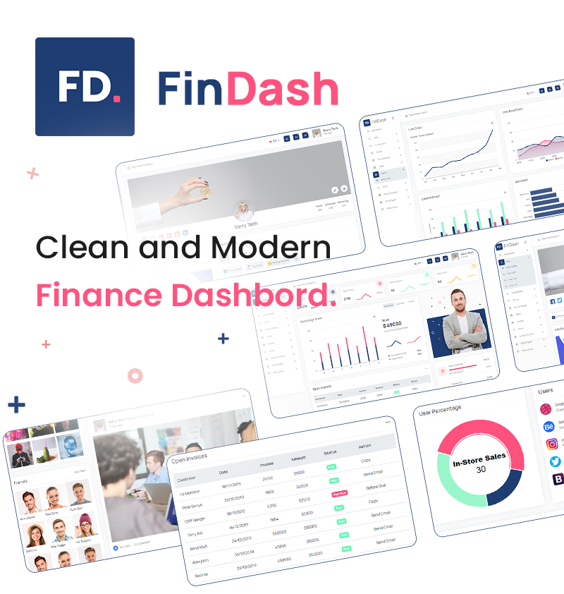 Best Free Website Template for Finance Dashboard   FinDash Lite   Iqonic Design free html finance sales dashboard FinDash Lite 02 banner
