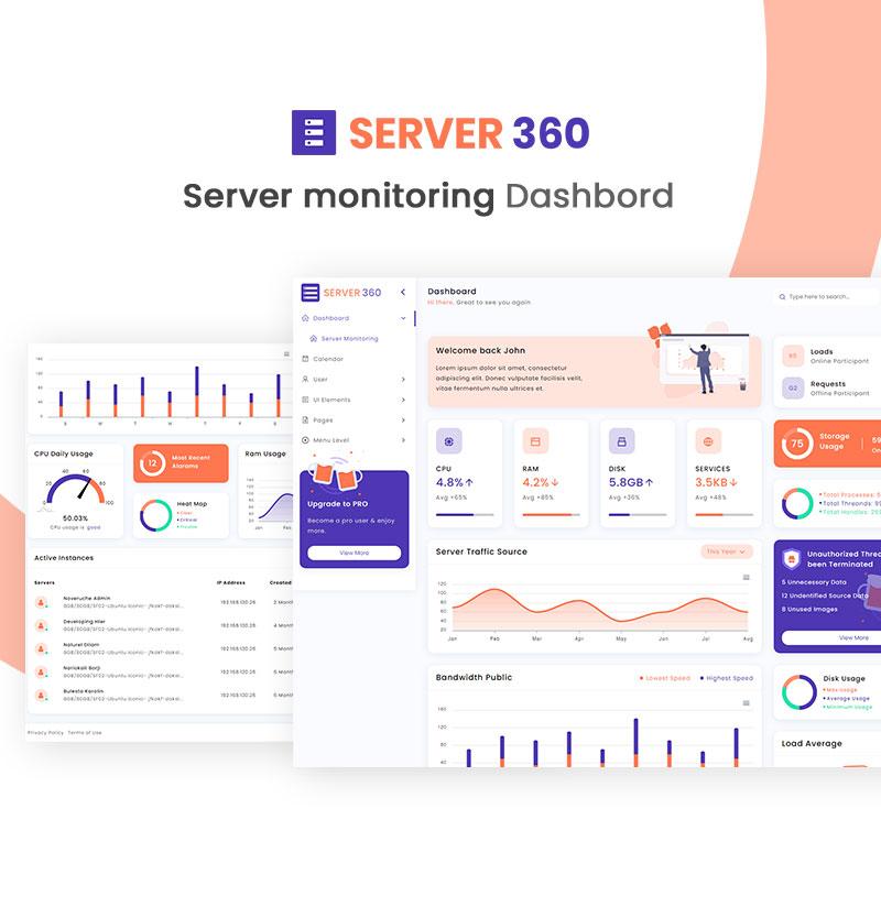 Free Server Monitoring Admin Dashboard | Server360 Lite | Iqonic Design free server monitoring admin dashboard Server360 Lite 02 home page min