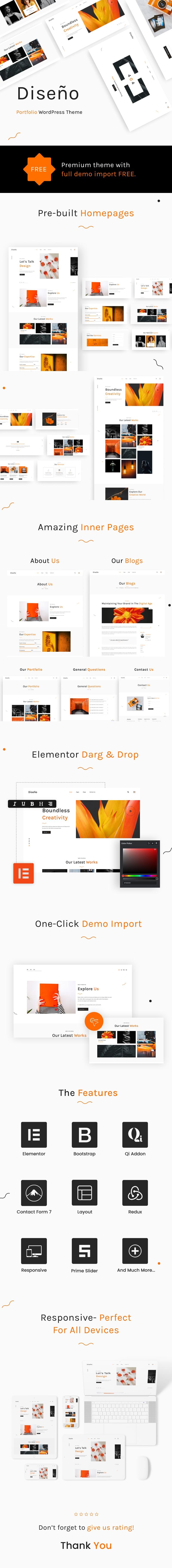 Best Free WordPress theme for Designer Portfolio | Diseno | Iqonic Design best free wordpress theme for designer portfolio Diseno WordPress Long 20Preview min