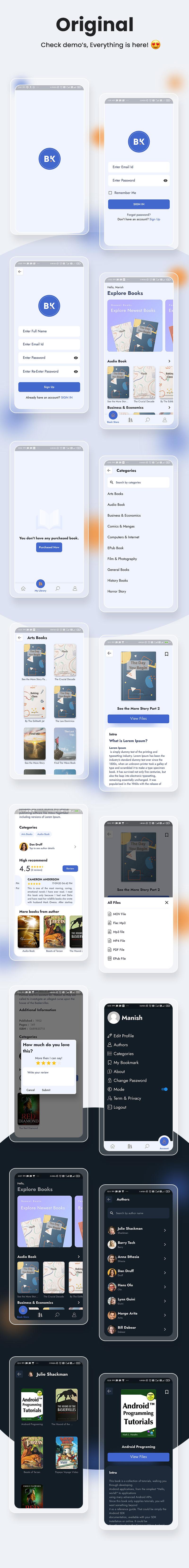 Best online bootstore flutter app | Bookkart | Iqonic Design flutter ebook reader app for wordpress with woocommerce Bookkart 4