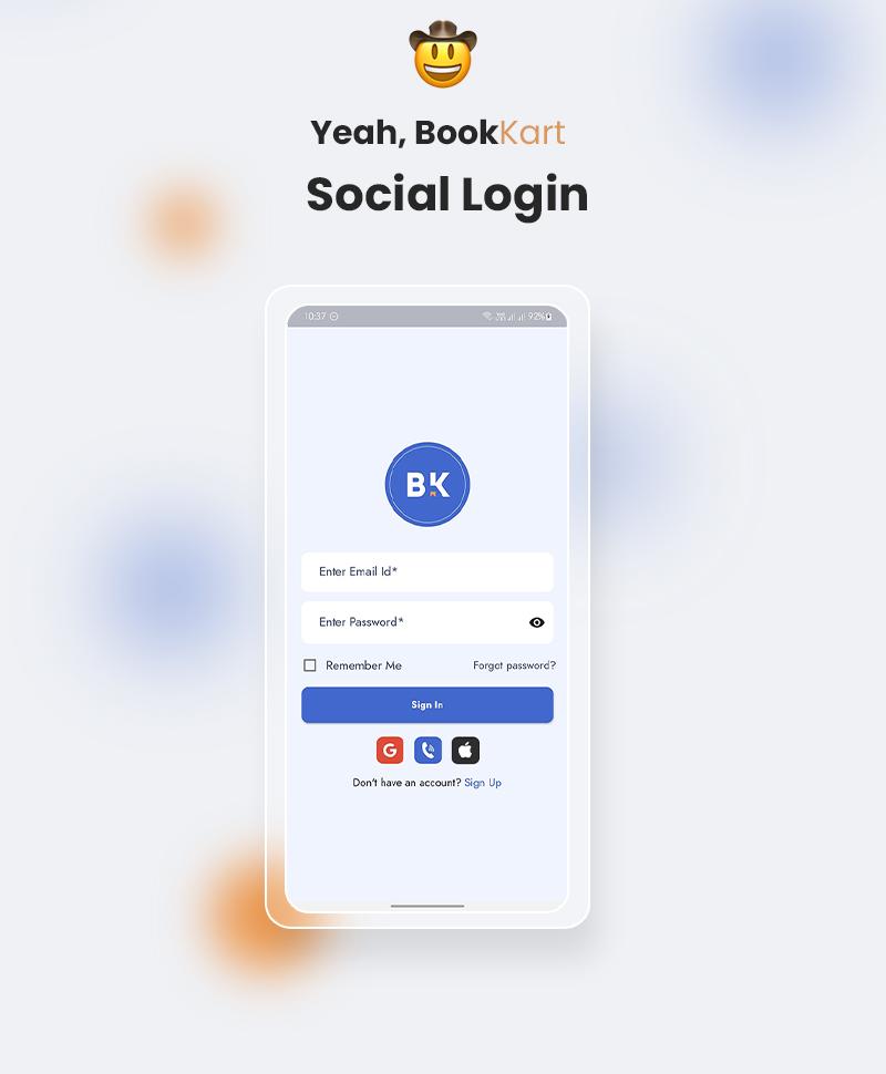 Flutter Ebook App | Bookkart | Iqonic Design flutter ebook reader app for wordpress with woocommerce Bookkart Social Login