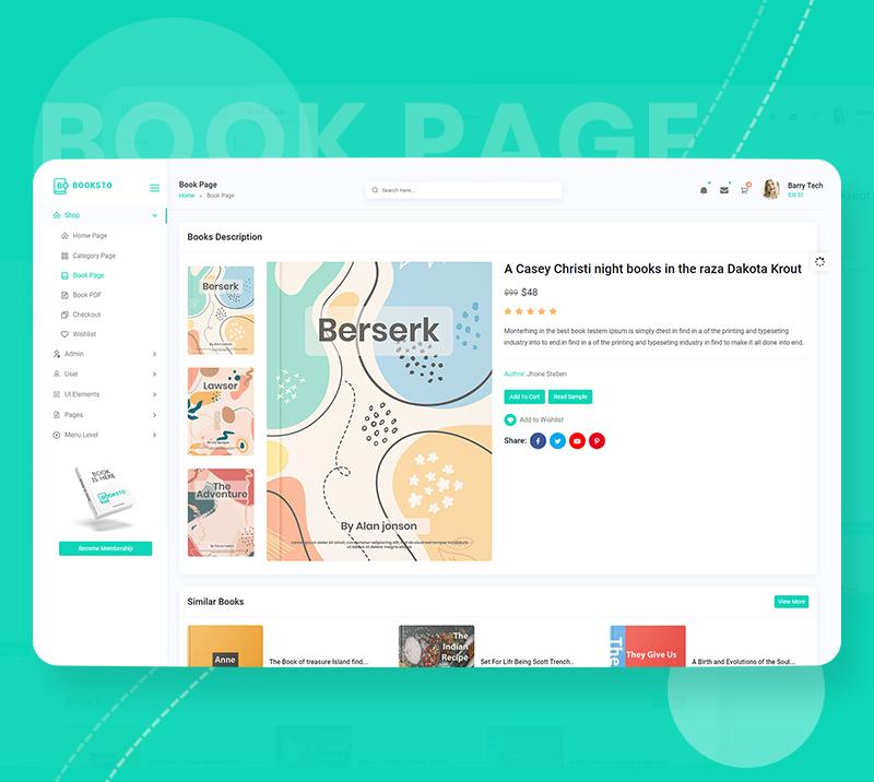 Booksto - VueJS, HTML Minimal Ebook Admin & Shop Template - 8 vuejs html minimal ebook admin and shop template Booksto n4