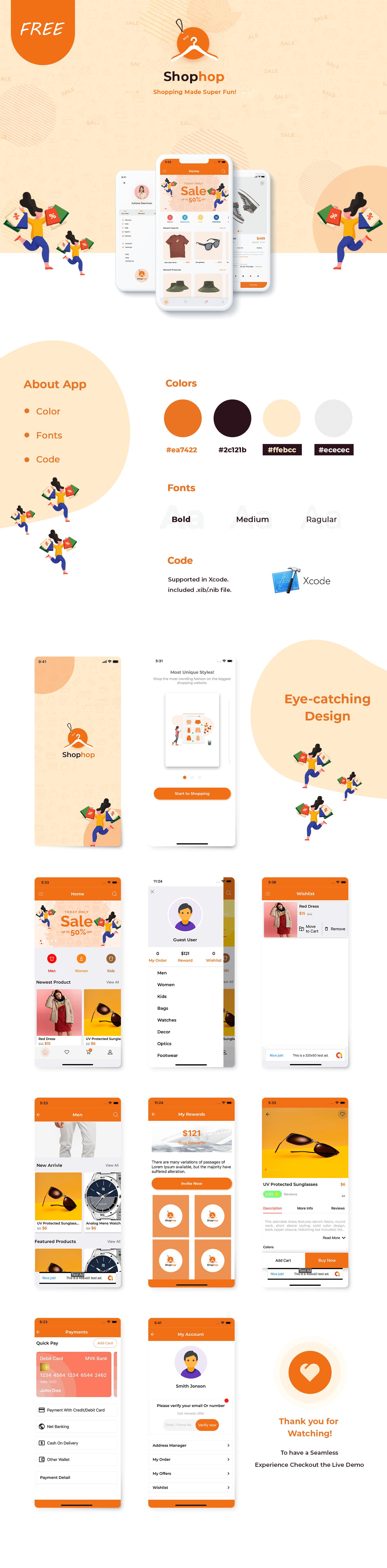 Free eCommerce App UI Templates Kotlin   Shophop Android UI   Iqonic Design free ecommerce app ui templates kotlin Shophop Android UI shophop min