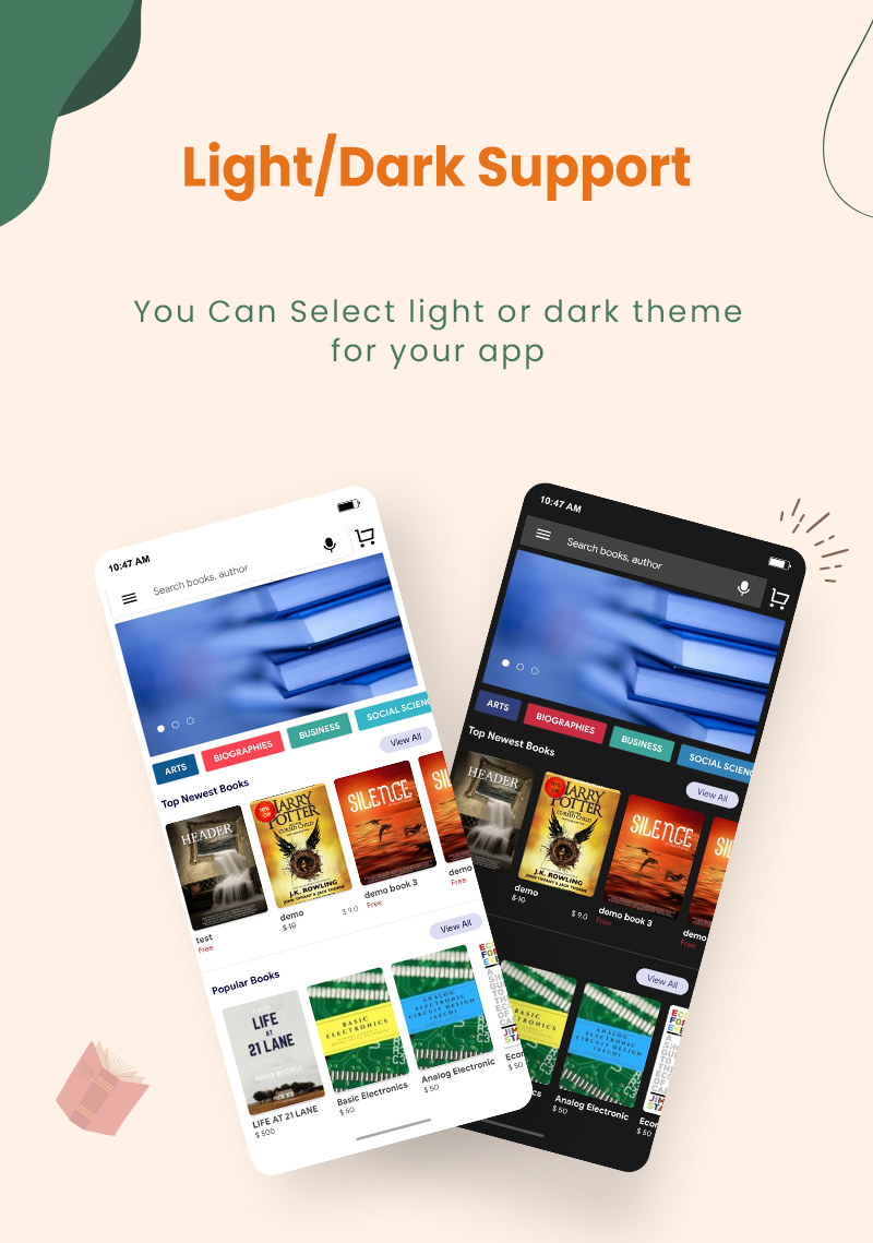 3 flutter ebook app with admin panel Granth 11 Light Dark