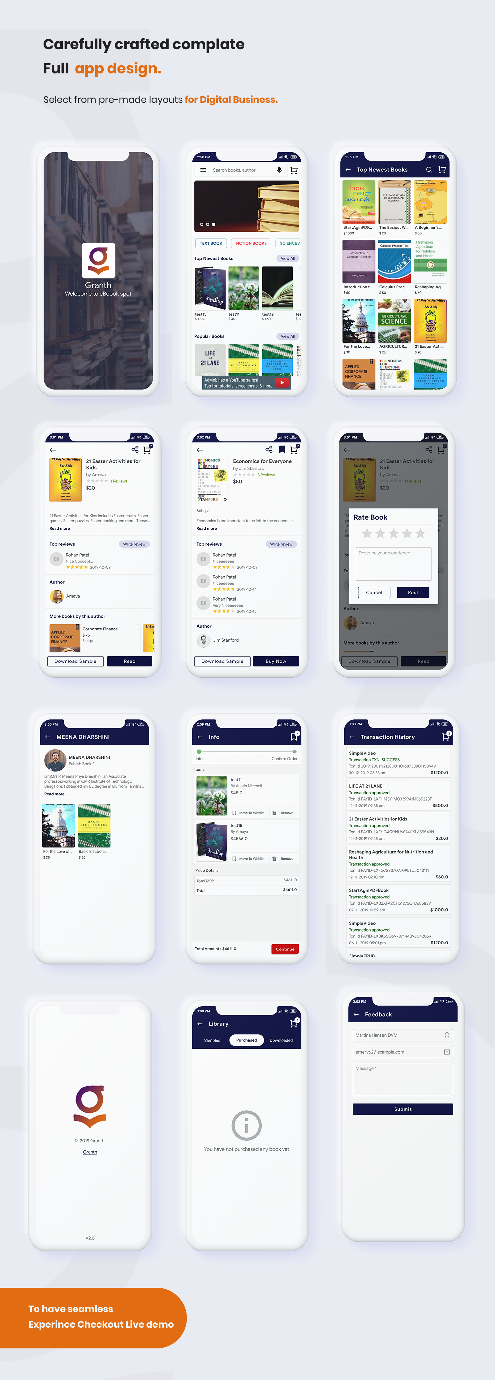 3 ios ebook app swift 4 + admin panel Granth 3 preview