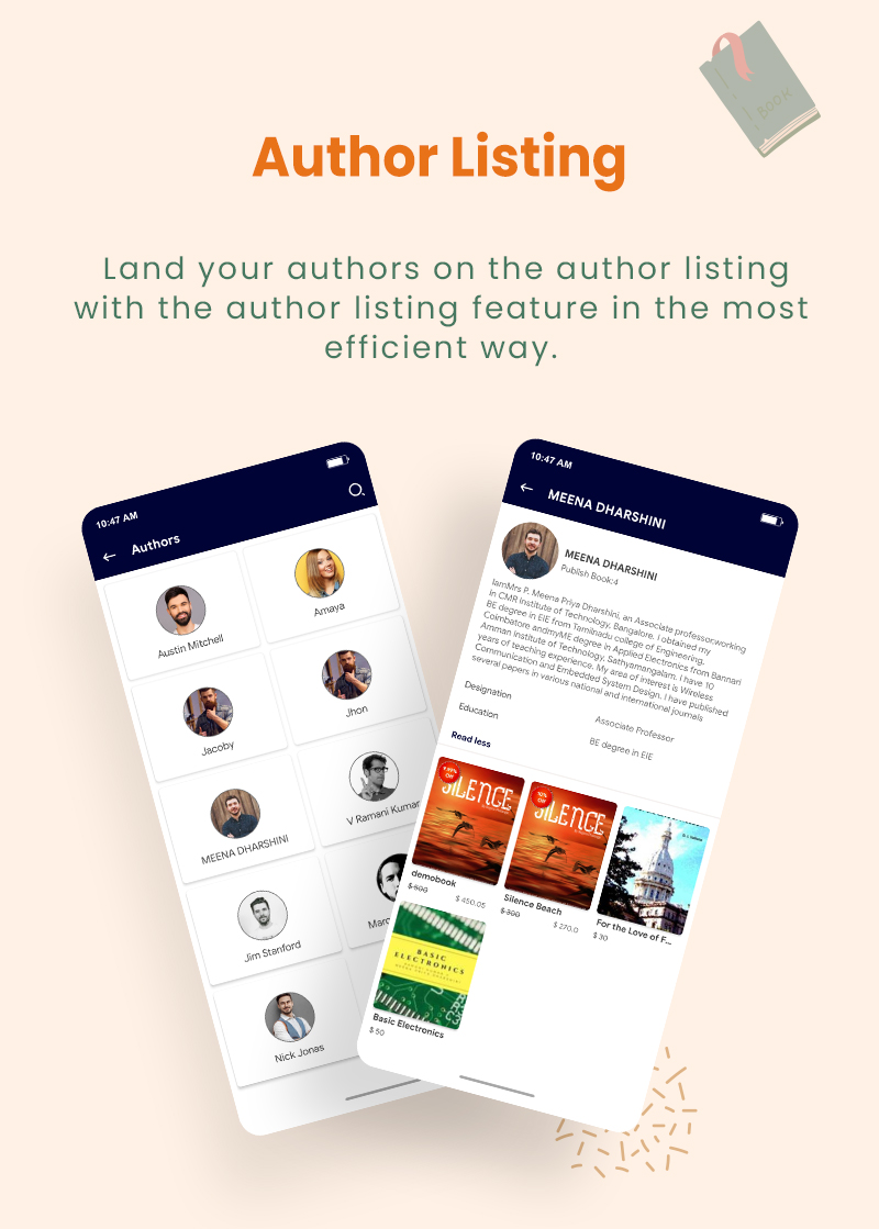 3 flutter ebook app with admin panel Granth 7 Author Listing