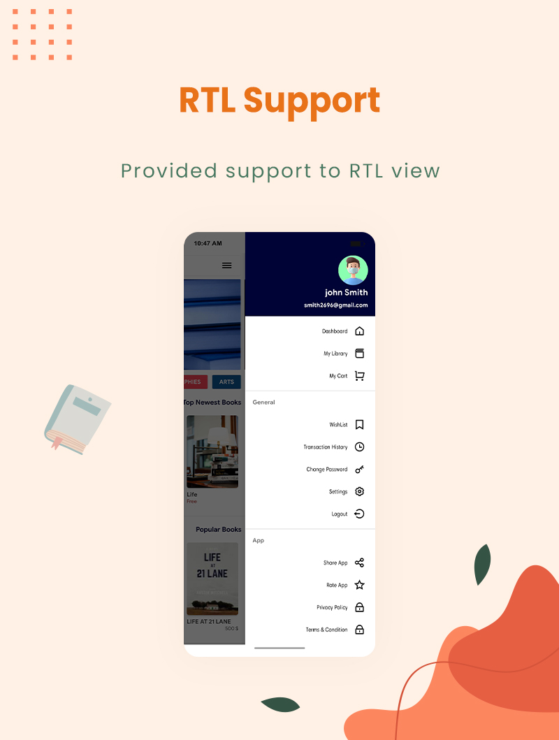 3 flutter ebook app with admin panel Granth 8 RTL Support