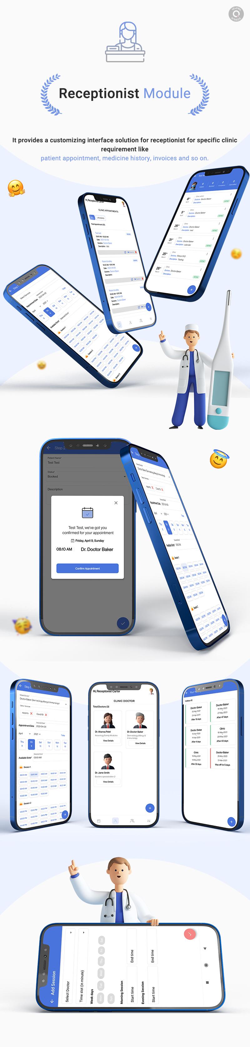 KiviCare Flutter 2.0 App – Clinic & Patient Management System - 13 clinic and patient management system KiviCare Flutter 2.0 App Receptionist