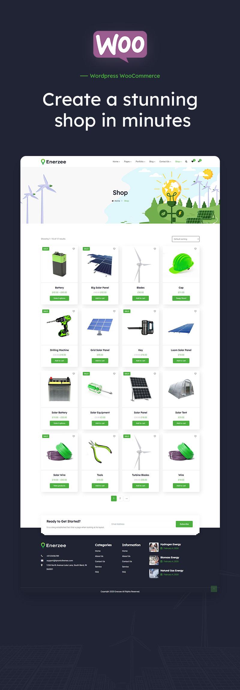 Solar and Renewable Energy WordPress Theme | Enerzee | Iqonic Design renewable energy wordpress theme Enerzee woocommerce