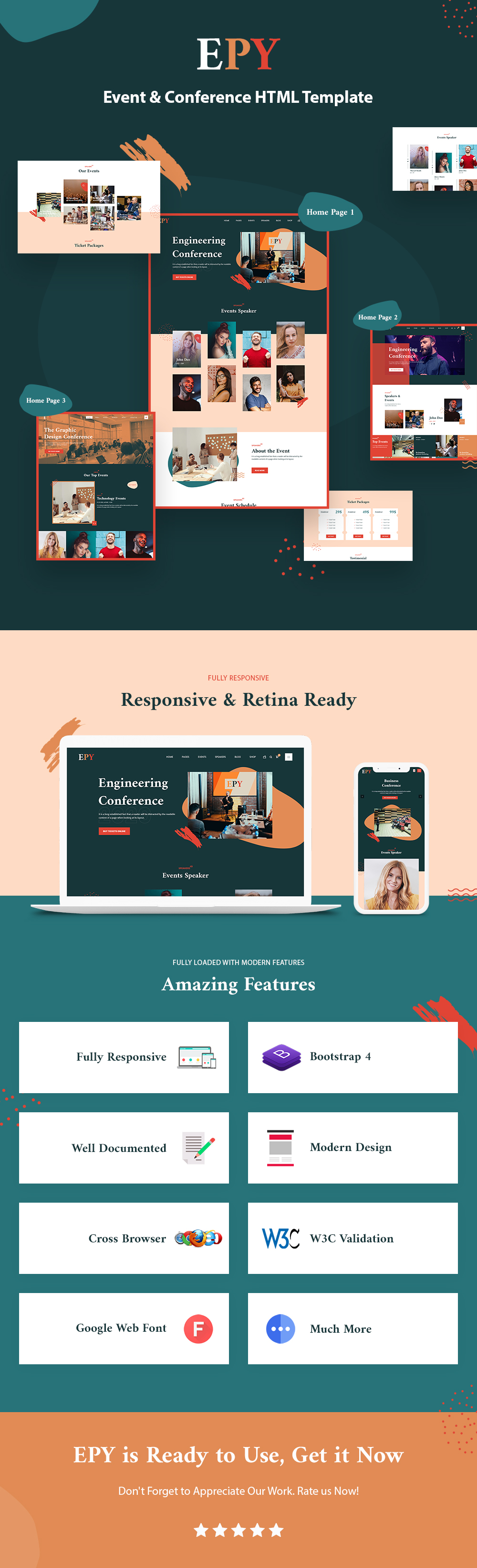 EPY - Event and conference HTML, Bootstrap Template - 1 event and conference html bootstrap template EPY live preview