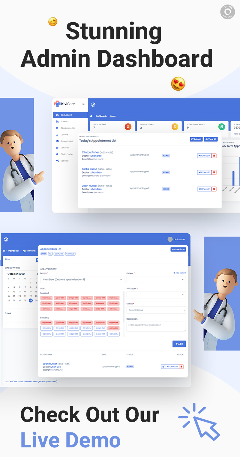 Medical Clinic and Patient Management WordPress Theme   KiviCare   Iqonic Design medical clinic and patient management wordpress theme KiviCare 4