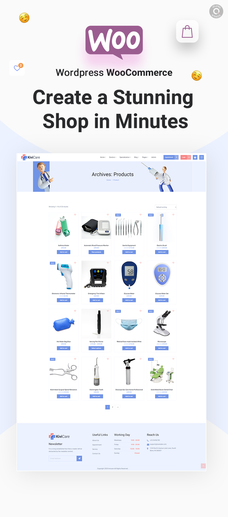 Complete Clinic Management Solution   KiviCare   Iqonic Design medical clinic and patient management wordpress theme KiviCare woocommerce
