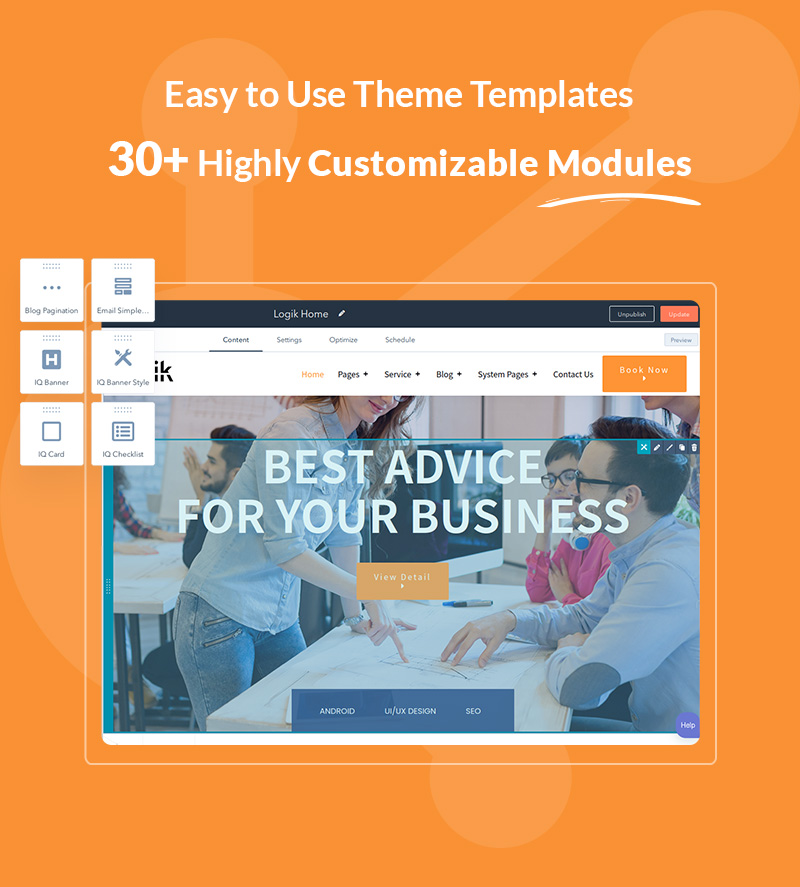 intro it solutions and technology hubspot theme Logik 04