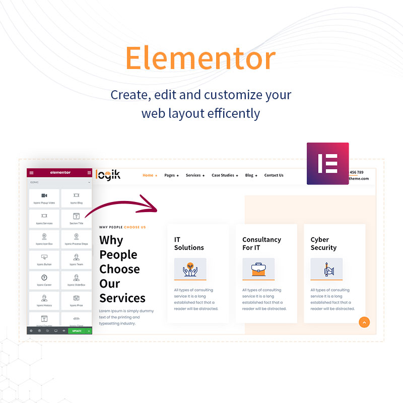 WordPress IT Consulting Theme | Logik | Iqonic Design it solutions and technology wordpress theme Logik 04 elementor new