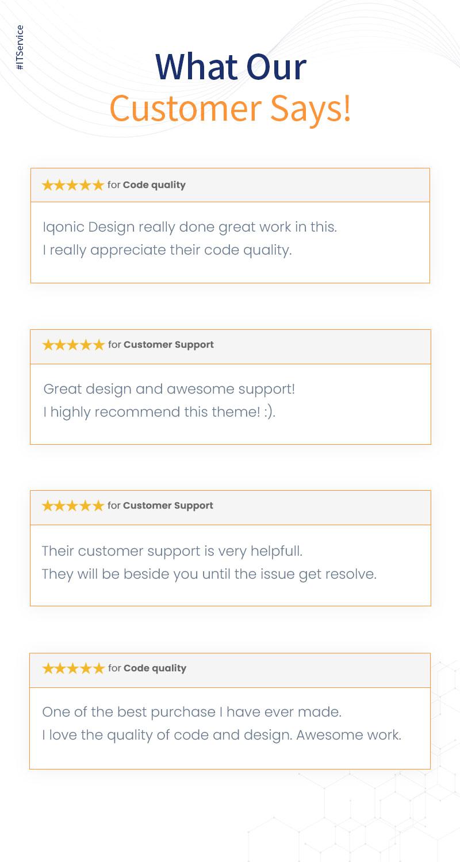 WordPress IT Consulting Theme | Logik | Iqonic Design it solutions and technology wordpress theme Logik 08 customer say new