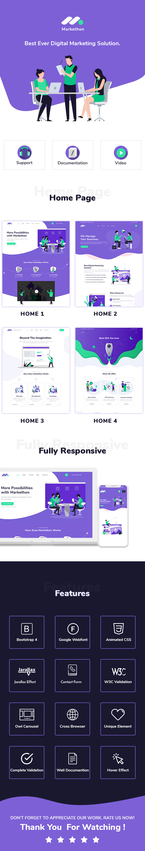 digital marketing agency responsive html5 template Markethon live preview