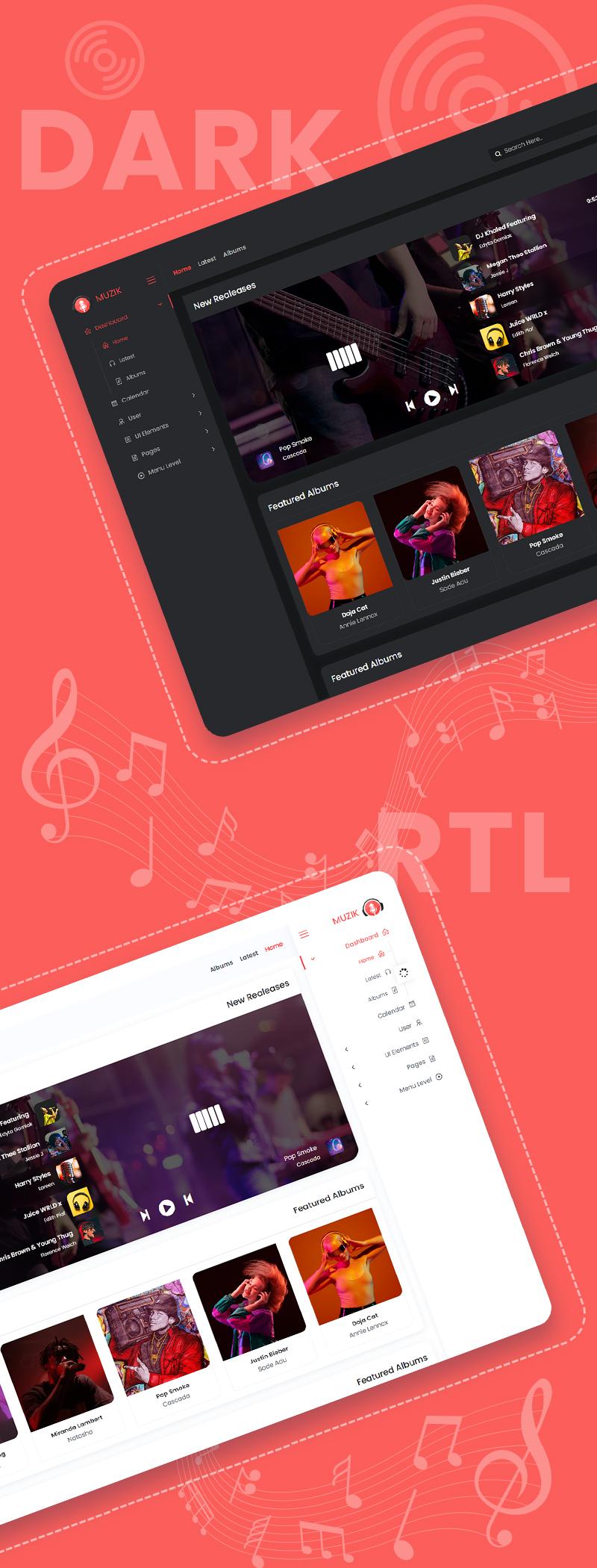 Muzik - VueJS, HTML Music Streaming Admin Template - 6 vuejs html music streaming admin template Muzik n2