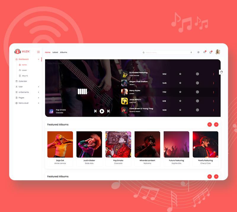 Muzik - VueJS, HTML Music Streaming Admin Template - 7 vuejs html music streaming admin template Muzik n3