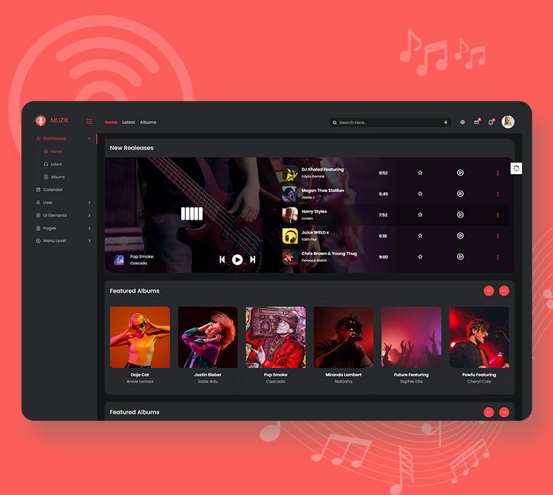 Muzik - VueJS, HTML Music Streaming Admin Template - 9 vuejs html music streaming admin template Muzik n5