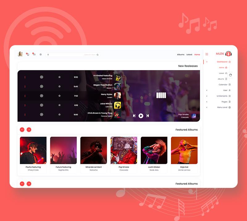 Muzik - VueJS, HTML Music Streaming Admin Template - 10 vuejs html music streaming admin template Muzik n6