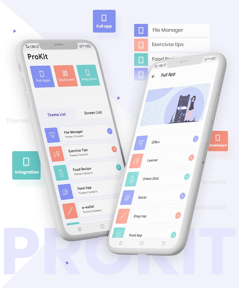 Flutter UI Kits | Prokit | Iqonic Design biggest flutter 2.0 ui kit ProKit mokup4