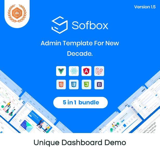 live-preview vuejs laravel angular 9 react html admin theme Sofbox Admin 1