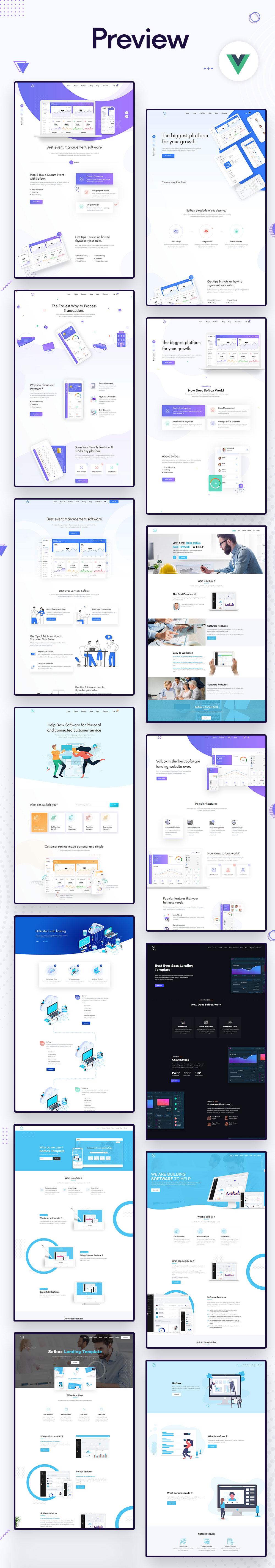Sofbox - Vue JS Software Landing Page - 2 vue js software landing page Sofbox preview vue