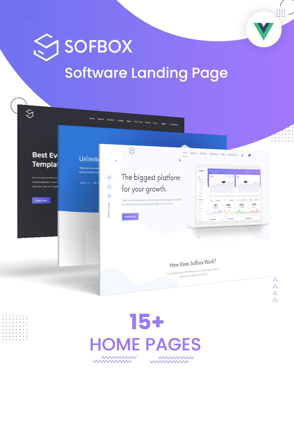 Sofbox - Vue JS Software Landing Page - 1 vue js software landing page Sofbox vue js