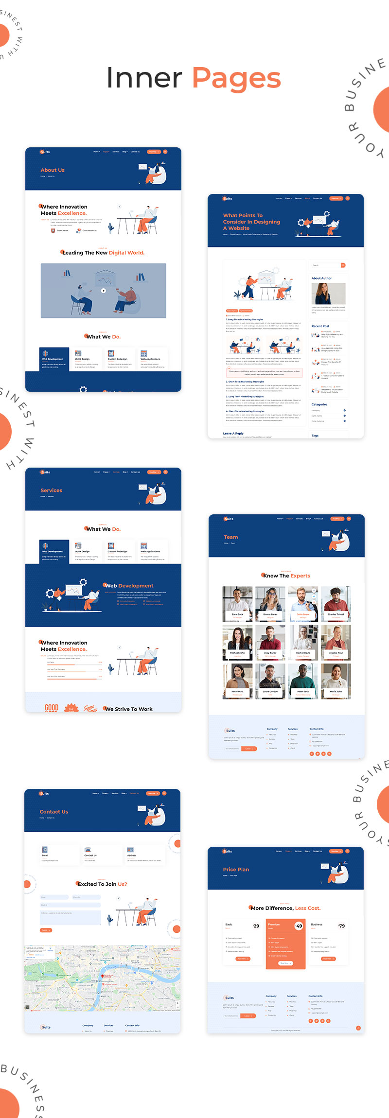 Suitss   Startup Business WordPress theme - 9 startup business wordpress theme Suitss 05 inner pages